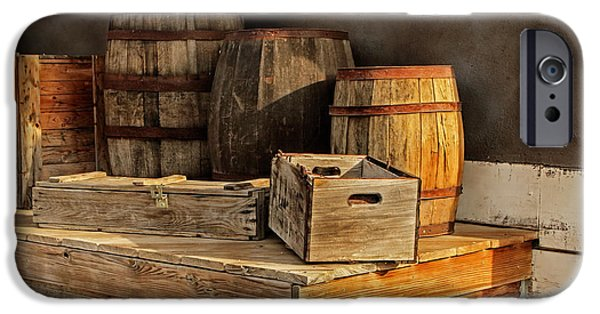 Wooden Platform iPhone Cases - Wooden Barrels and Crates on a shelf at a Railroad Station iPhone Case by Randall Nyhof