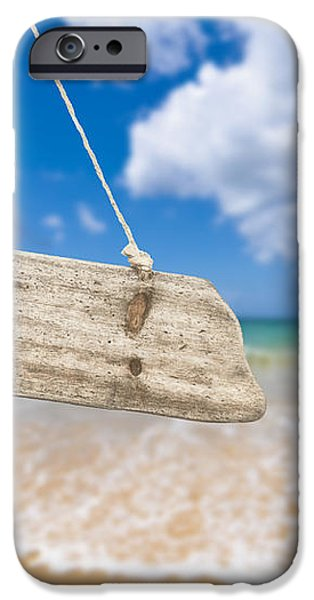 Wooden Beach Sign Algarve Portugal iPhone Case by Amanda And Christopher Elwell
