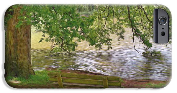 Empty Chairs Paintings iPhone Cases - Wooden bench at a lake iPhone Case by Lanjee Chee