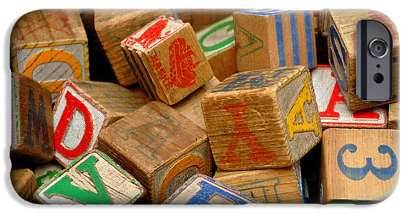 Toy Store Photographs iPhone Cases - Wooden Blocks with Alphabet Letters iPhone Case by Amy Cicconi