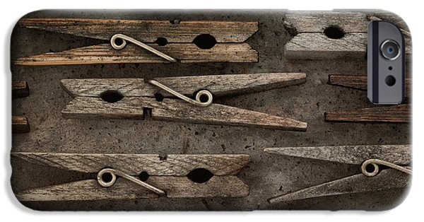 Spring iPhone Cases - Wooden Clothespins iPhone Case by Priska Wettstein
