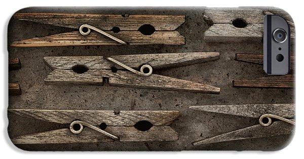 Stillife iPhone Cases - Wooden Clothespins iPhone Case by Priska Wettstein
