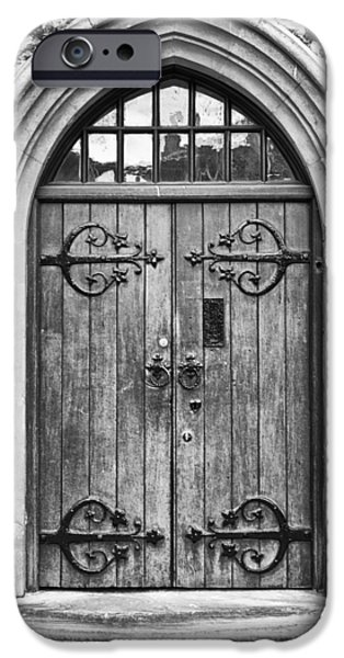 Wooden Door at Tower Hill BW iPhone Case by Christi Kraft