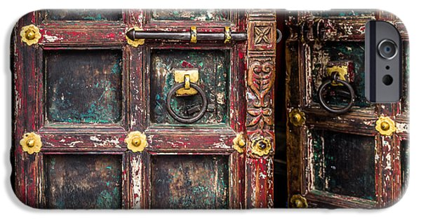 Harem Photographs iPhone Cases - Wooden door iPhone Case by Catherine Arnas