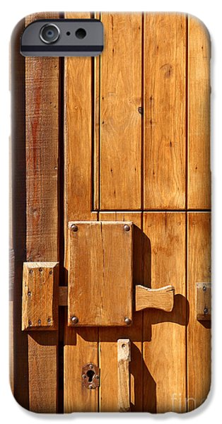 Cabin Window iPhone Cases - Wooden door detail iPhone Case by Carlos Caetano