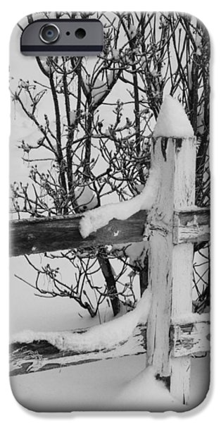 Snow Drifts Photographs iPhone Cases - Wooden Fence in Snow iPhone Case by Angie Vogel
