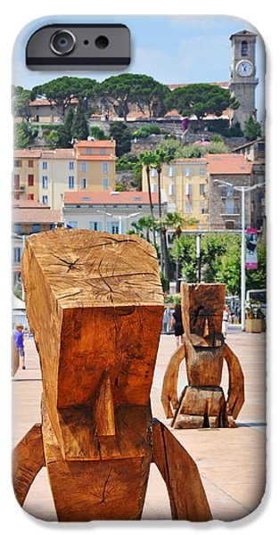 D.c. Pyrography iPhone Cases - Wooden figures in Cannes iPhone Case by Steffen Schumann