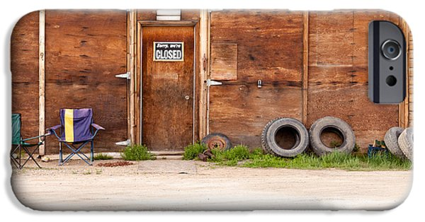 Facade iPhone Cases - Wooden gate of rural timber building closed sign iPhone Case by Stephan Pietzko