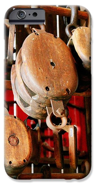 Agricultural iPhone Cases - Wooden Pulleys iPhone Case by Heather Allen
