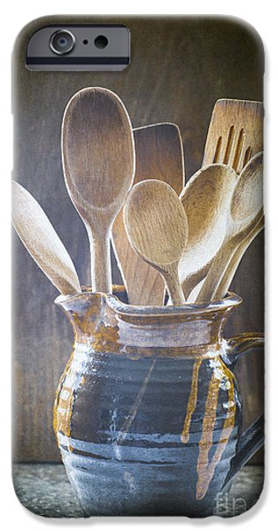 Pottery Pitcher iPhone Cases - Wooden Spoons iPhone Case by Jan Bickerton