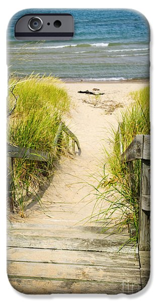 Beach Landscape iPhone Cases - Wooden stairs over dunes at beach iPhone Case by Elena Elisseeva