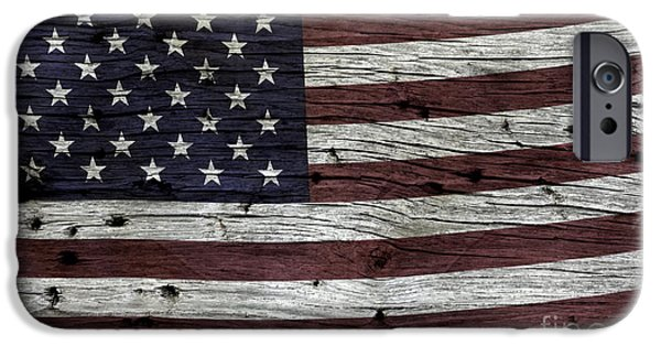 Wood Grain iPhone Cases - Wooden Textured USA Flag3 iPhone Case by John Stephens