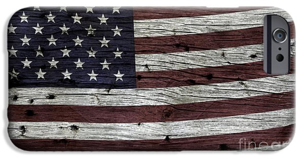 Fourth Of July Photographs iPhone Cases - Wooden Textured USA Flag3 iPhone Case by John Stephens