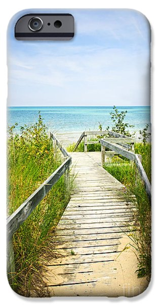 Beach iPhone Cases - Wooden walkway over dunes at beach iPhone Case by Elena Elisseeva