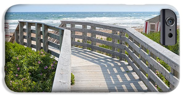 Beach Landscape iPhone Cases - Wooden walkway to ocean beach iPhone Case by Elena Elisseeva