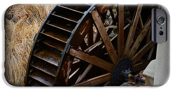 Old Mill Scenes iPhone Cases - Wooden Water Wheel iPhone Case by Paul Ward