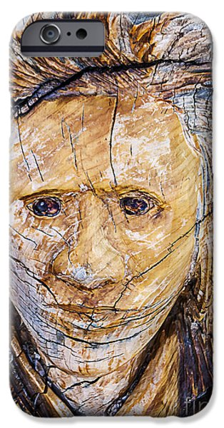 Concept Art iPhone Cases - Wooden Woman iPhone Case by Janice Rae Pariza