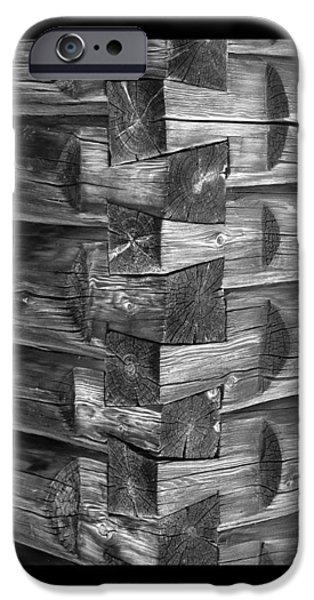 Cabin Corner iPhone Cases - 1875 Woodgrain log cabin corner study in  black white iPhone Case by Jack Pumphrey