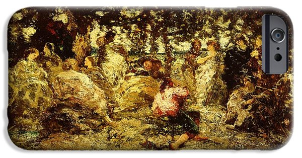 Impressionist Photographs iPhone Cases - Woodland Fete Oil On Panel iPhone Case by Adolphe Joseph Thomas Monticelli