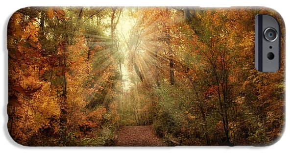 Autumn Digital iPhone Cases - Woodland Light iPhone Case by Jessica Jenney
