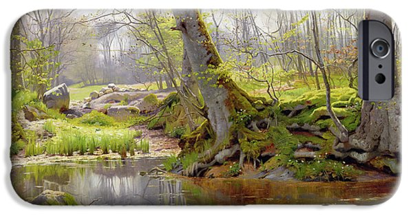 Twentieth Century iPhone Cases - Woodland Pond iPhone Case by Peder Monsted