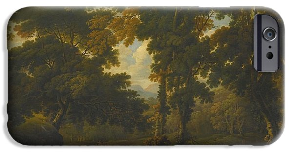 Woodlands Scene Paintings iPhone Cases - Woodland Scene With A Horseman iPhone Case by George Barret