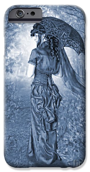 Painter Digital Art iPhone Cases - Woodland Stroll Cyanotype iPhone Case by John Edwards