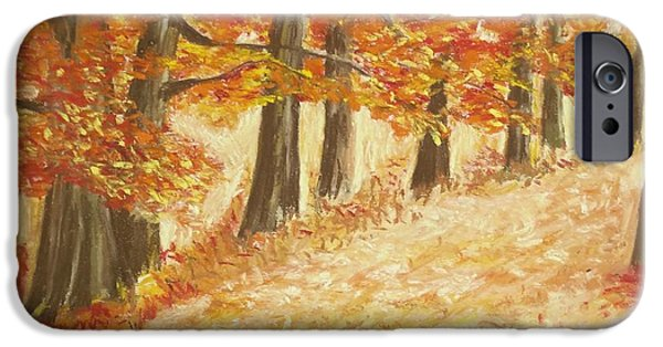 Autumn Landscape Pastels iPhone Cases - Woodland Trail iPhone Case by Mary  Fields