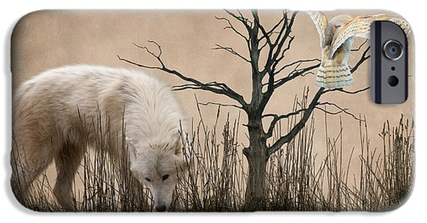 Wolf Digital Art iPhone Cases - Woodland Wolf reflected iPhone Case by Sharon Lisa Clarke