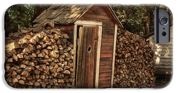 Shed iPhone Cases - Woodpile and Shed iPhone Case by Nikolyn McDonald
