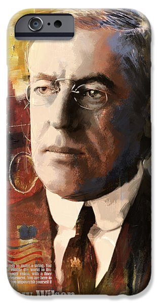 Thomas Jefferson Paintings iPhone Cases - Woodrow Wilson iPhone Case by Corporate Art Task Force
