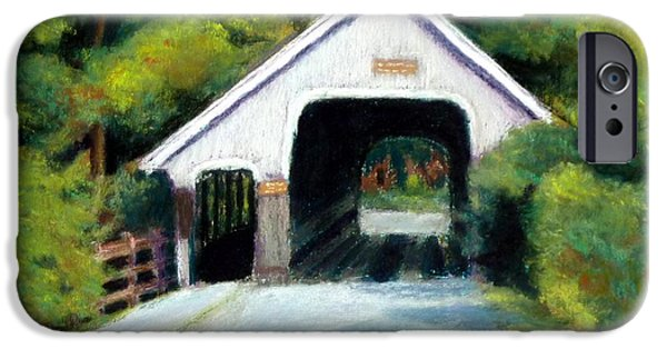 Covered Bridge Pastels iPhone Cases - Woodstock Middle Bridge North iPhone Case by David Henderson
