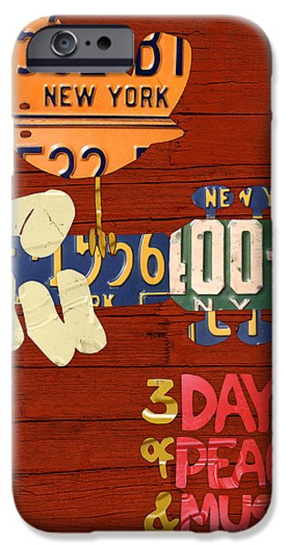 New York Mixed Media iPhone Cases - Woodstock Music Festival Poster License Plate Art iPhone Case by Design Turnpike