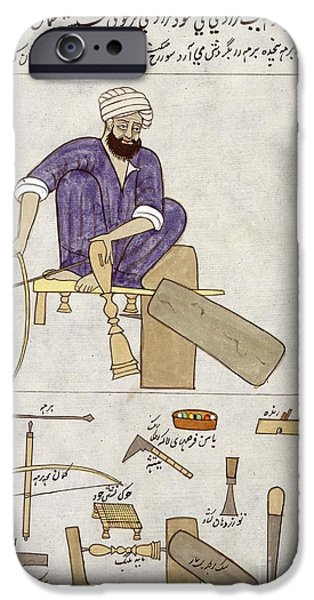 1850s iPhone Cases - Woodturning Craftsman In India, 1850s iPhone Case by British Library