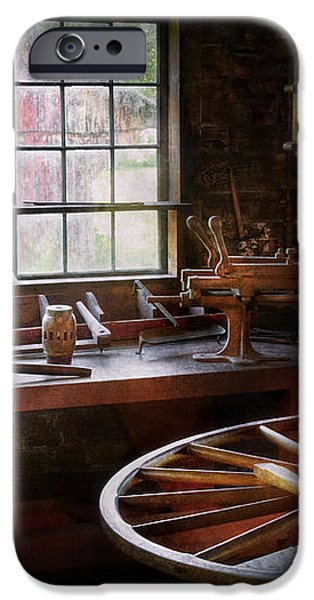 Woodworker - The wheelwright shop  iPhone Case by Mike Savad
