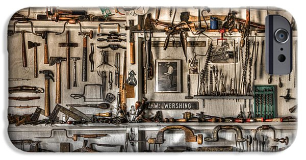 Workbench iPhone Cases - Woodworking Tools iPhone Case by Debra and Dave Vanderlaan