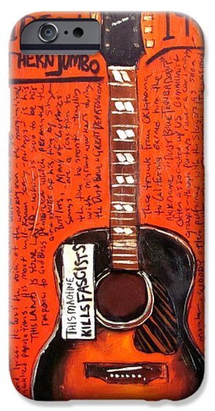 Woody Guthrie iPhone Cases - Woody Guthrie Gibson SJ iPhone Case by Karl Haglund