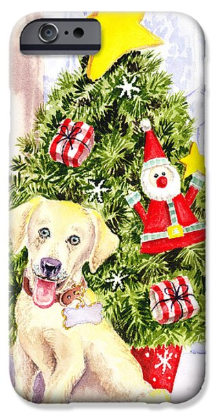 Boxes Paintings iPhone Cases - Woof Merry Christmas iPhone Case by Irina Sztukowski
