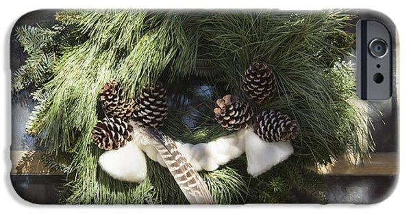 Historic Triangle iPhone Cases - Wool and Feather Wreath iPhone Case by Teresa Mucha
