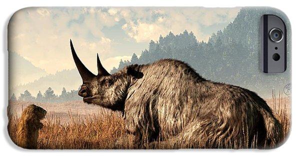 Rhino iPhone Cases - Woolly Rhino and a Marmot iPhone Case by Daniel Eskridge