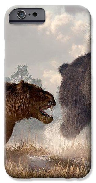 Woolly Rhino and Cave Lion iPhone Case by Daniel Eskridge