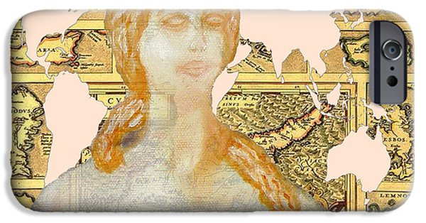 Old Map Digital iPhone Cases - Word Map Cyprus and Aphrodite iPhone Case by Augusta Stylianou