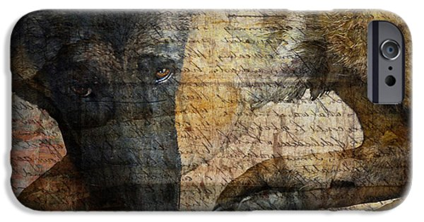 Dogs Digital Art iPhone Cases - Wordless iPhone Case by Judy Wood