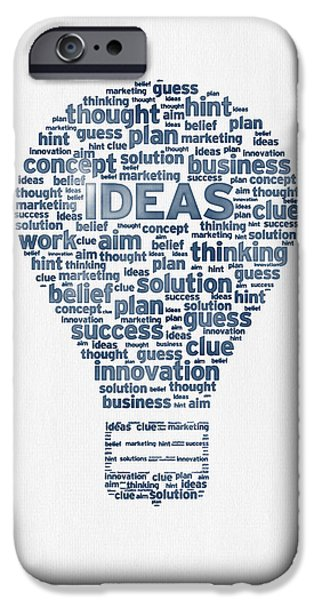 Problems iPhone Cases - Words Ideas  -  Blue Ink iPhone Case by Aged Pixel