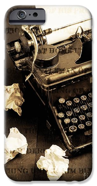 Typewriter Keys Photographs iPhone Cases - Words Punched On To Paper iPhone Case by Edward Fielding