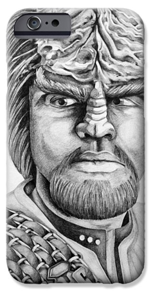 Enterprise Drawings iPhone Cases - Worf iPhone Case by Judith Groeger