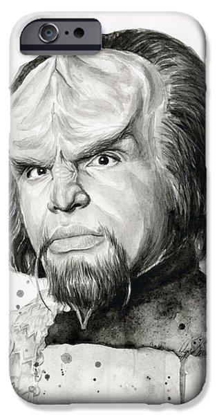 Michael Paintings iPhone Cases - Worf Portrait Watercolor Star Trek Art iPhone Case by Olga Shvartsur