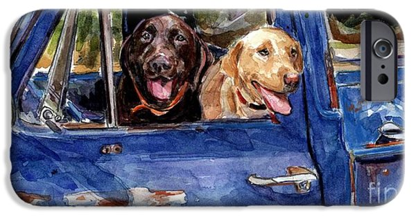 Chocolate Labrador Retriever Paintings iPhone Cases - Work and Play iPhone Case by Molly Poole