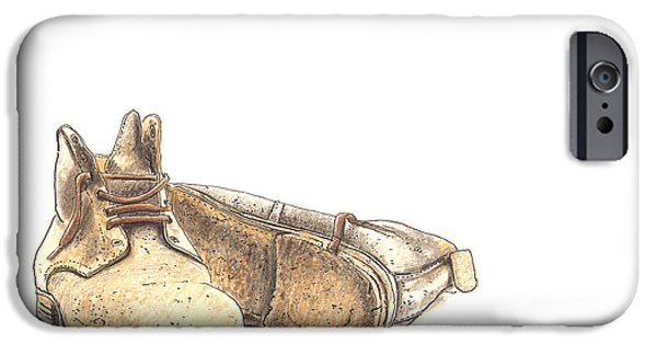 Rust Drawings iPhone Cases - Work Boots Number Two iPhone Case by Peter  McEwan