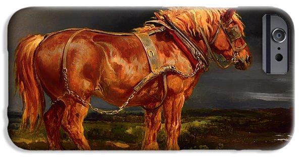 Dark Skies Paintings iPhone Cases - Work Horse iPhone Case by Ward Lockwood